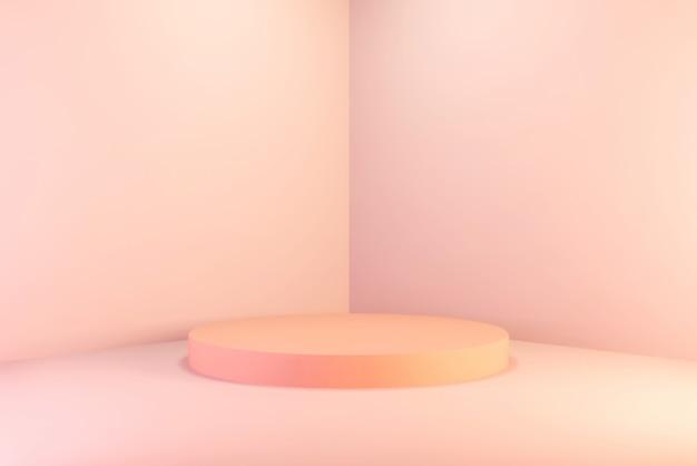 Cena vazia 3d do canto da parede do sumário do fundo que rende o pódio cor-de-rosa mínimo do inclinação do círculo, para o poduct.