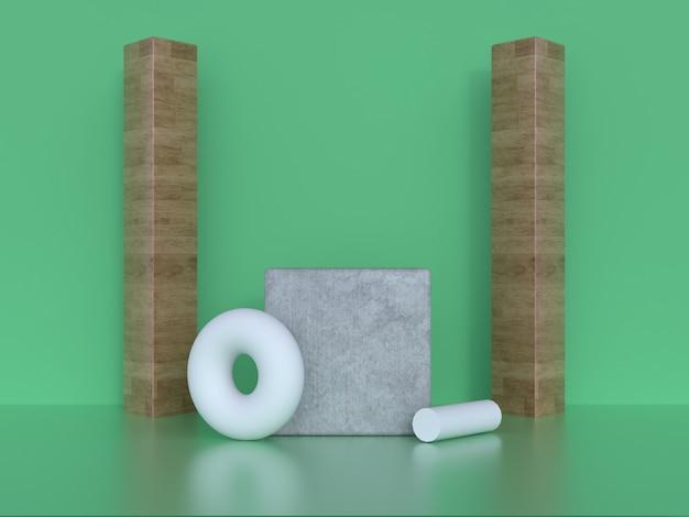 Cena verde parede piso madeira moldura geométrica forma renderização em 3d