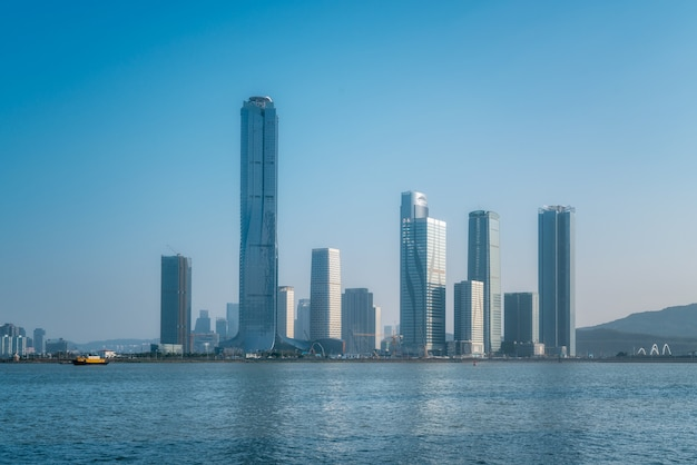 Cenário costeiro de zhuhai e ilha financeira de hengqin