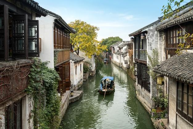 Cenário da cidade antiga de zhouzhuang, suzhou, china