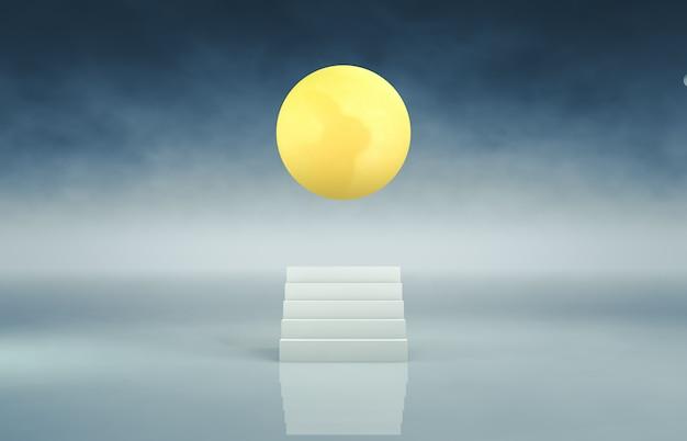 Cenário de escada branca abstrata com fundo de lua cheia. 3d rendem.