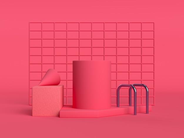 Cenário de forma geométrica de parede quadrada de cena vermelha / rosa