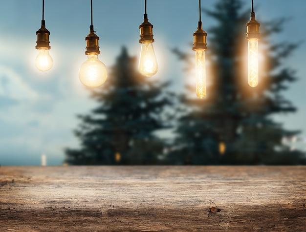 Cenário de inverno de natal com lâmpadas de base de madeira e abetos vermelhos ao fundo
