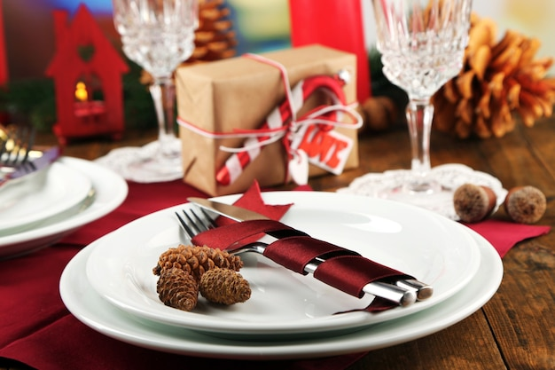 Cenário de mesa de férias com fundo de decoração de natal