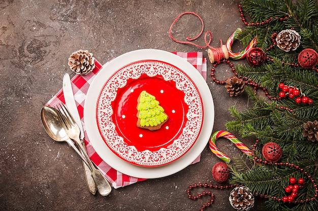 Cenário de mesa de natal com decorações festivas vista superior do plano de fundo de feriados com espaço de cópia