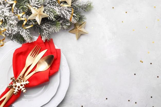 Cenário de mesa de natal ou ano novo