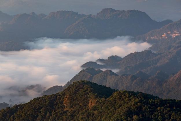 Cenário de montanha nevoenta ao longo da manhã.