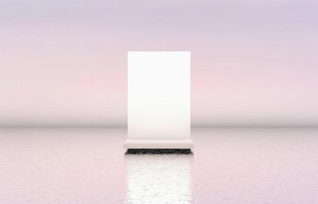 Cenário de pódio branco beleza natural para exposição de produtos cosméticos.