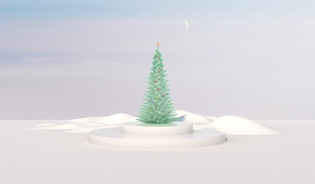 Cenário de pódio de beleza natural com caixa de cilindro e árvore de natal.