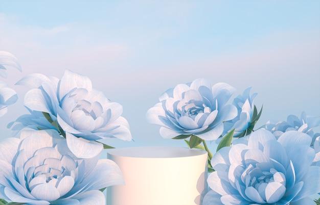 Cenário de pódio de beleza natural para exibição de produtos com renderização em 3d de flor rosa azul