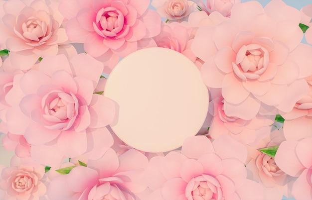 Cenário de pódio de beleza natural para exibição de produtos com renderização em 3d de flor rosa