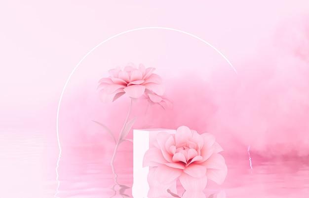Cenário de pódio de beleza natural para exposição de produto com flor de primavera