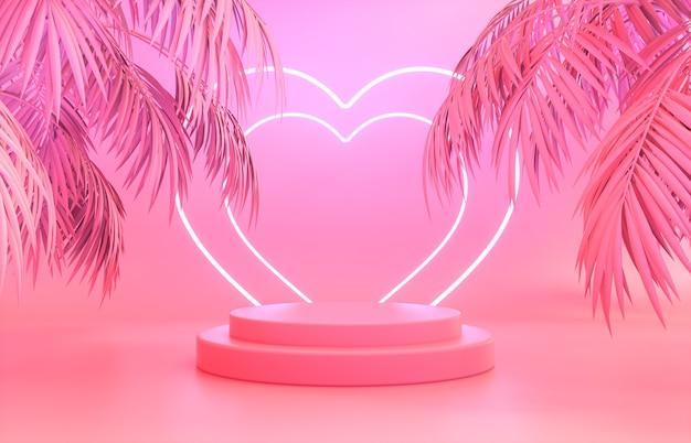 Cenário de pódio de moda beleza com luz de néon rosa e folhas de palmeira tropical.