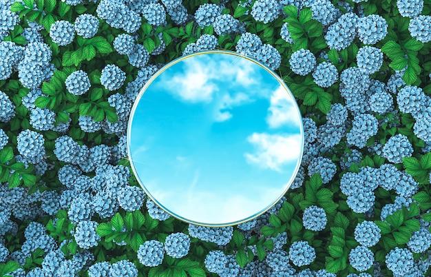 Cenário de pódio espelho redondo abstrato sobre fundo de flores de hortênsia. 3d rendem.