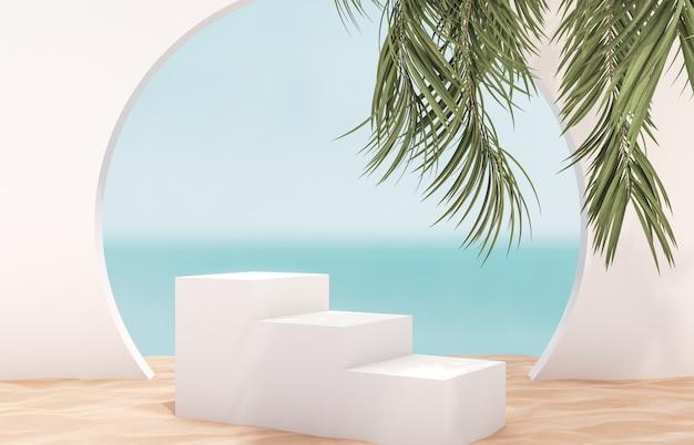 Cenário de praia verão natural com escada branca e palmeira para exposição do produto