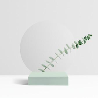 Cenário de produtos botânicos, folhas de eucalipto