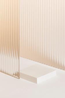 Cenário de produtos de vidro estampado com suporte
