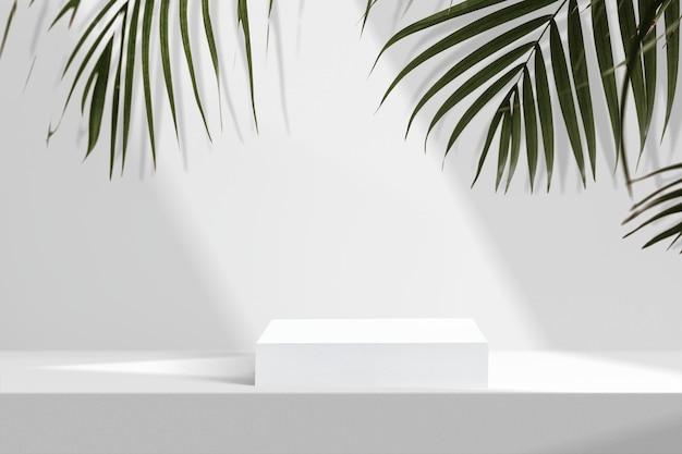 Cenário de produtos estéticos, folhas de palmeira