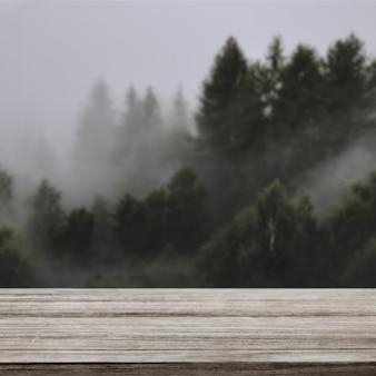 Cenário de produtos naturais, pinheiro e montanha
