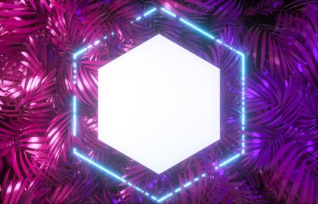 Cenário de quadro abstrato néon com fundo tropical folhas. 3d rendem.