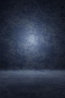 Cenário de retrato de estúdio de fotografia. o fundo pintou a textura do risco azul escuro, noite da nuvem com luz do ponto. renderização em 3d