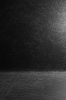 Cenário de retrato de estúdio de fotografia. o fundo pintou o preto escuro da textura do risco, cinzento com luz do ponto. renderização em 3d