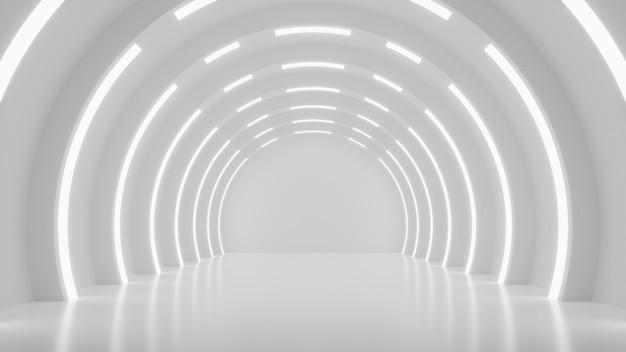 Cenário de simulação futurista branco abstrato design de interiores scifi futurista renderização 3d