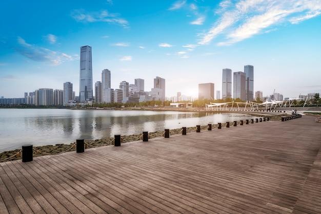 Cenário do parque de talentos houhai na baía de shenzhen, china