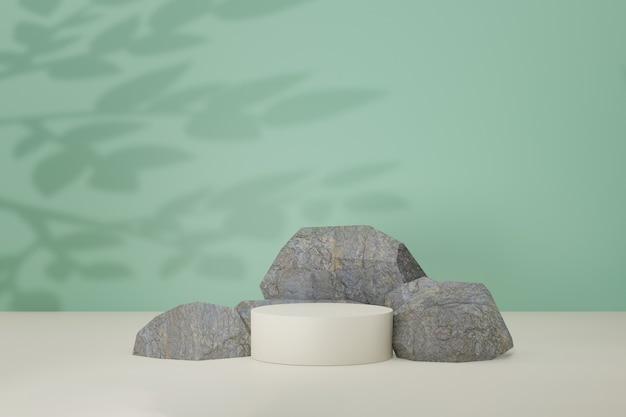 Cenário do pódio de pedra. limpe o estágio redondo do cilindro na cor verde clara com sombra de folha. imagem de renderização de ilustração 3d.