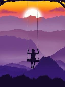Cenário do pôr do sol com balanço feminino