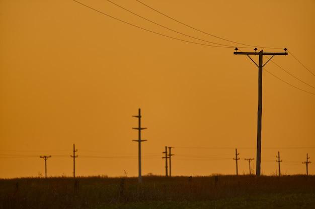 Cenário do pôr do sol em uma linha elétrica aérea
