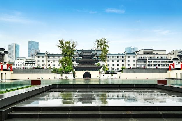 Cenário do templo de confúcio em nanjing, china