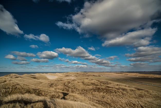 Cenário ensolarado de uma bela e tranquila praia de areia