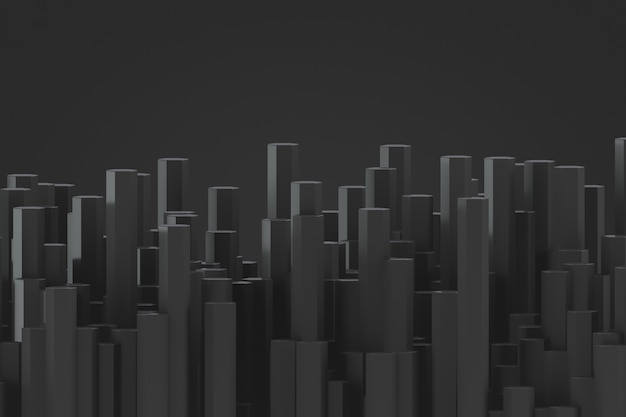 Cenário futurista decorativo em cores escuras. muitas hastes