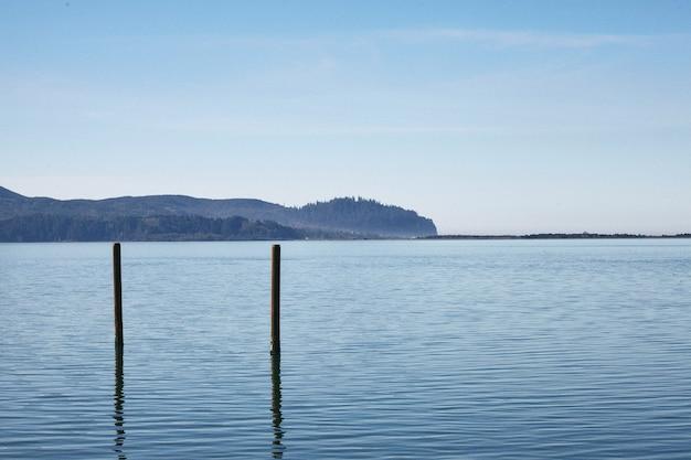 Cenário matinal da famosa baía nehalem, no centro de oregon