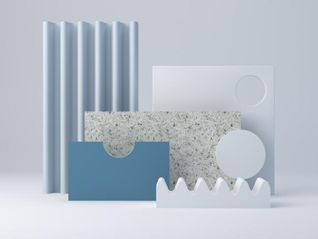 Cenário mínimo com formas texturizadas e pódio. camadas de terrazzo e formas curvas