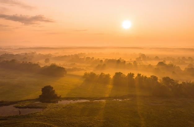 Cenário natural com o sol nascendo no campo coberto de névoa