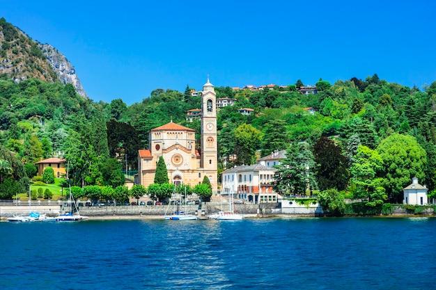 Cenário pictórico do belo lago di como, itália
