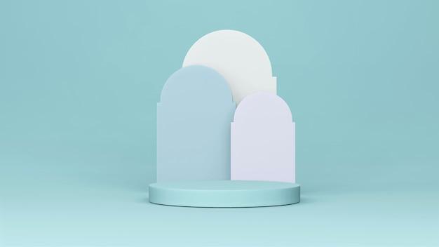 Cenário step stage podium stage com arco árabe. renderização 3d