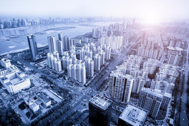 Cenário urbano do novo distrito de nanchang, jiangxi, china
