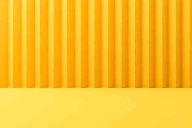 Cenários contemporâneos abstratos ou exposição amarela no fundo vívido do verão com parede listrada. renderização em 3d.