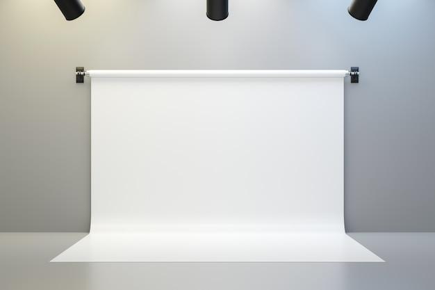 Cenários de estúdio de fotografia vazio no fundo da sala de holofotes com mostrando o modelo. renderização 3d.
