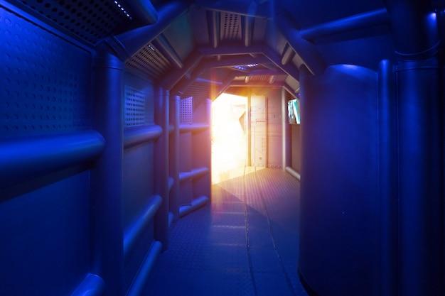 Cenas de ficção científica, canais de metal em naves espaciais