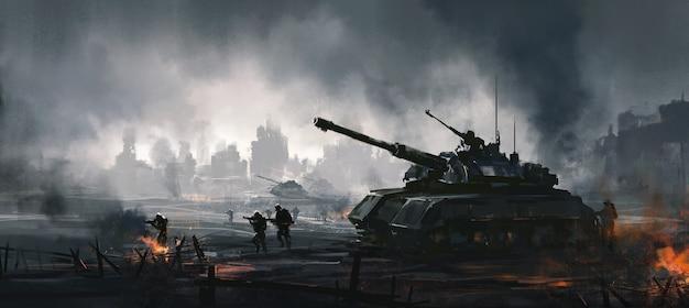 Cenas de guerra cruéis, pintura digital.