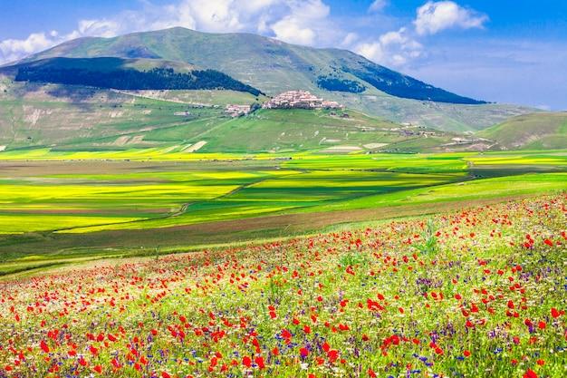 Cênica da itália castelluccio di norcia antes do terremoto em 2016 prados florescendo na úmbria