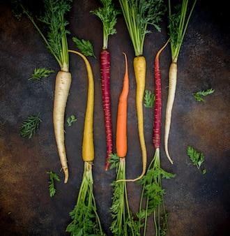 Cenouras de cores diferentes com raízes