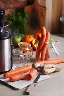Cenouras e frutas