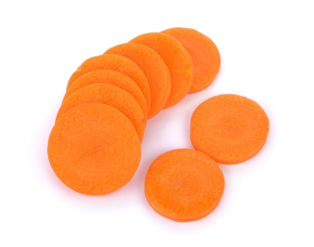 Cenouras frescas, cortadas