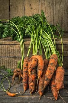 Cenouras orgânicas frescas na superfície de madeira