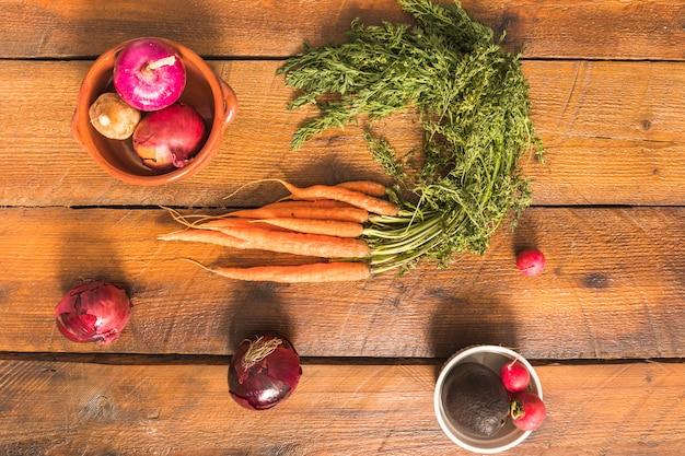 Cenouras, rabanetes e cebolas